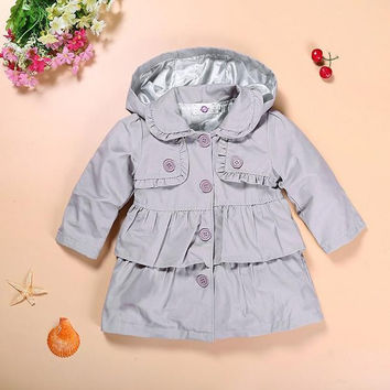 2017 New Spring Autumn Baby Girl jackets Long Sleeve Children Clothing Girl Coats Hooded Princess Kids Dress Outerwear