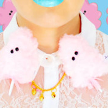 Lavinia fenton cotton candy neck brooch // sweet, cute, pin, double brooch, charms, dress, pink, accessories