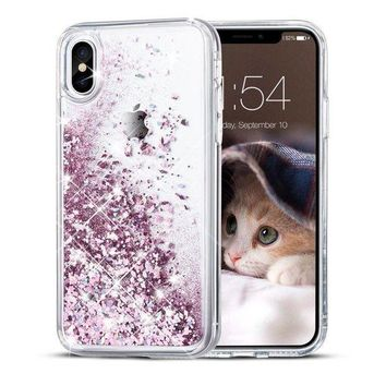 Iphone X Case Maxdara Glitter Liquid Sparkle Floating Luxury Bling Quicksand Shockproof Protective Bumper Silicone Case Pretty Fashion Design For Girls Children[pass Msds&sgs Safety Test](rosegold)