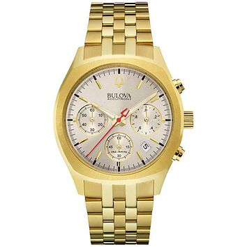 Bulova Mens Accutron II Surveyor Chrono - Warm Gray Dial - Gold Tone Bracelet