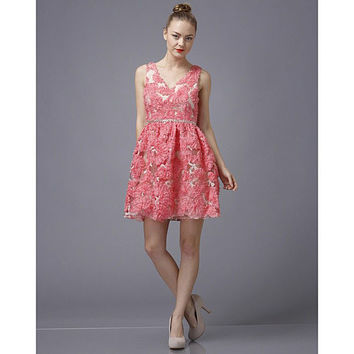 Minuet Pink Floral Lace Dress