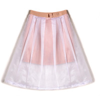 ROMWE Mesh Panel Lined Pleated Elegant Skirt