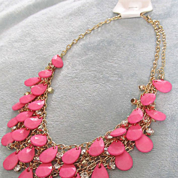 Light Pink Layered Statement Necklace