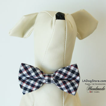 Plaid Black and white dog bow tie attached to collar, Puppy, Cat, birthday gift