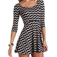 Lattice Back Printed Skater Dress: Charlotte Russe
