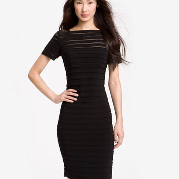 ADRIANNA PAPELL Illusion Bodice Pleated Jersey Sheath Dress