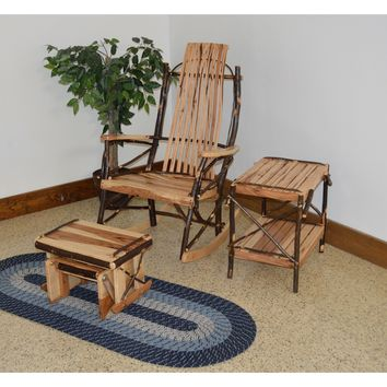 A & L Furniture Co. Amish Bentwood Hickory 9-Slat Rocking Chair w Gliding Ottoman and End Table  - Ships FREE in 5-7 Business days
