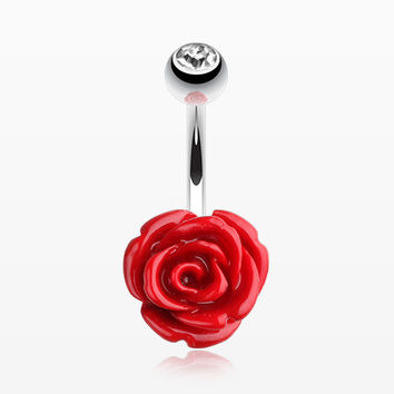 Dainty Blossom Rose Belly Button Ring