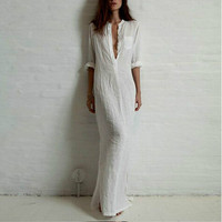 Linen Cotton Casual Vintage Split Long Maxi Wrap Dress