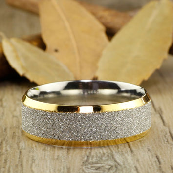 Handmade Customize Gold Matching Wedding Band, Men Ring, Couple Ring, Titanium Ring, Anniversary Ring