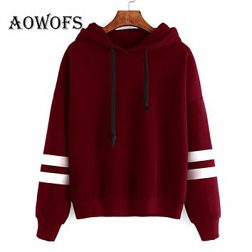 AOWOFS 2017 Autumn Cute hoodies Sweatshirts Pullover Women Crop Top Hoodies Sweatshirt For Woman Tops Loose Sweatshirt Female