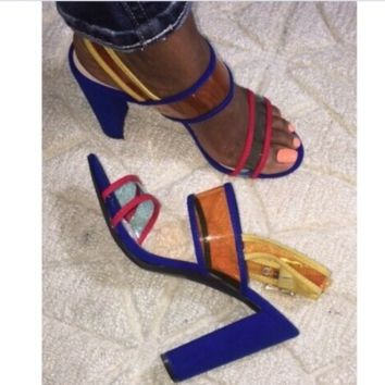 Hot style hot PVC matching color chunky heel sandals