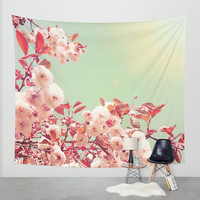 Cherry blossom tapestry, cherry blossom wall art, photo tapestry, large wall hanging, pink home decor, nature decor, cherry blossoms
