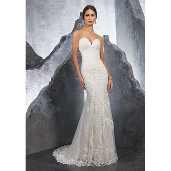 Blu by Morilee 5615 Kirstie Strapless Lace Fit and Flare Wedding Dress