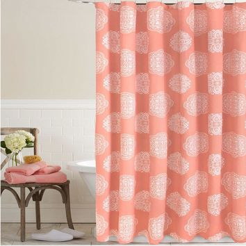 Coral White Damask Medallion Fabric Shower Curtain