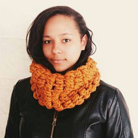 Crochet scarf in orange, Crochet circle scarf - The Bubble cowl in butterscotch - crochet cowl