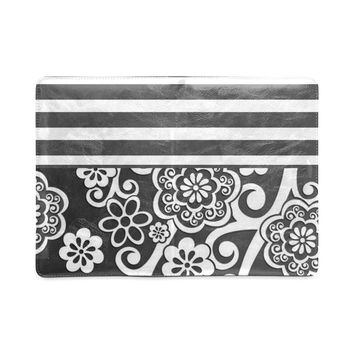 Gray Floral Stripe Custom Ruled Notebook A5