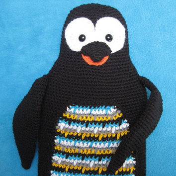 Crochet Pattern Penguin Hot Water Bottle Cover Cozy PDF