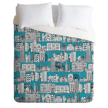 Sharon Turner New York Teal Duvet Cover