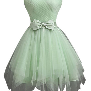 Light Green Sheer Strapless Bowknot Waist Lacing Back Prom Dress
