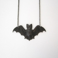 Black Bat Necklace - Vampire Jewelry - Blood Red - Gothic Silver Plated Brass