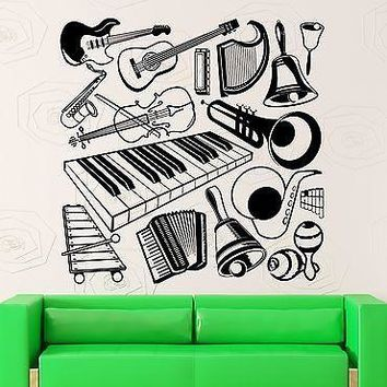 Wall Stickers Vinyl Decal Music Musical Instruments Guitar Piano Decor Unique Gift (ig1831)