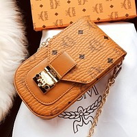 MCM Newest Fashion Men Women Metal Chain Leather Mobile Phone Package Satchel Crossbody Shoulder Bag