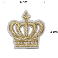 Gold Crown Iron on / sew on Embroidery Patch Badge Embroidered King Queen crown Motif