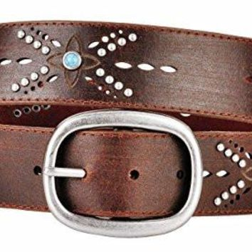Bohemian Brown Leather Belt Light Blue Studs Cut Out Design Oval Buckle