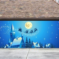 Christmas Garage Door Cover Banners 3d Santa In A Sleigh Holiday Outside Decorations Outdoor Decor for Garage Door G50