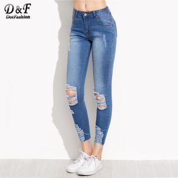Dotfashion Distressed Rip Knee Skinny Ankle Jeans