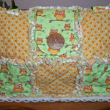 Rag Quilt Purse - Owl Print Fabric in Green and Gold