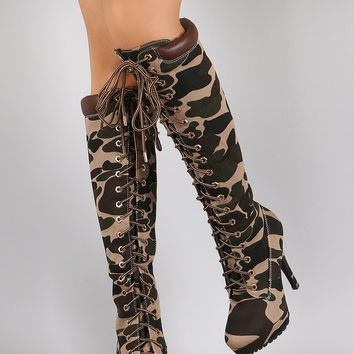 Bamboo Camouflage Combat Lace Up Stiletto Platform Boots