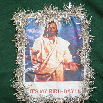 XL Jesus Ugly Christmas Sweater, Green XL Jesus Sweatshirt