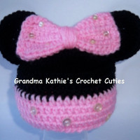 Crochet Minnie Mouse Hat. Mouse Ears. Minnie Mouse Beanie Baby. Child. Toddler. Photo Prop. Shower Gift. Christmas Gift.  Best Seller