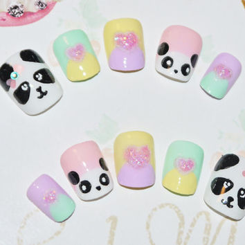 Japanese kawaii 3D nail art false nail, fake nails, tsum tsum, cute panda, pastel multicolore, 3D hearts, lolita accessory, fairykei