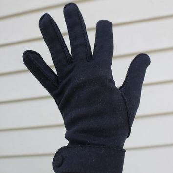 Navy Blue Gloves, Wrist Gloves Button Van Raalte