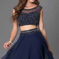 Two Piece Cap Sleeve Short Beaded Shail K Dress