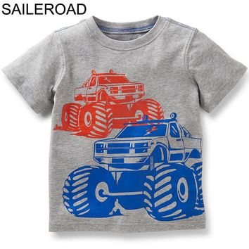SAILEROAD Cartoon Vehicles Children T Shirts Boys T Shirt Girls Tops Blouses Baby Kids t-shirt Clothes Infants Party Costume