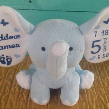 Personalized Elephant stuffed animal baby Dumble Cubbie cubby birth announcement subway tile--NEW colors