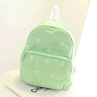 On Sale Hot Deal Casual Comfort College Back To School Embroidery Canvas Stylish Korean Backpack [6582700871]