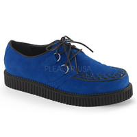Demonia Royal Blue Suede One Inch Creepers
