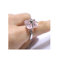 silver ring, Pink Rose quartz Silver Ring, handmade ring