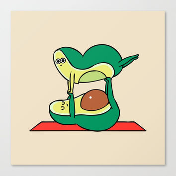 Acroyoga Avocado Canvas Print by huebucket