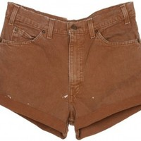 Rokit Recycled Brown Denim Turn Up Shorts - Vintage clothing from Rokit - Rokit Recycled, Brown, Denim, Turn Up, Shorts