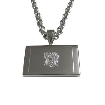 Silver Toned Etched New Jersey State Flag Pendant Necklace