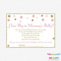 Twinkle Twinkle Little Star, How Big is Mommy's Belly, Pink and Gold Baby Shower Games, Stars, Glitter, Baby Girl, Printable Download, STPG