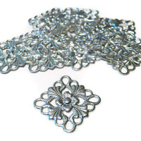15mm Silver Plated Square Filigree Findings 13 Pcs