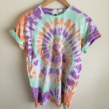 Tie Dye T-shirt Spiral Colours, Fruit salad, Tropical Twist & Orange Juice