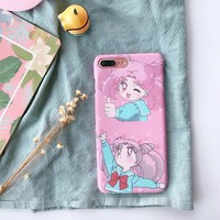 Girly Pink Cartoon Cover for Apple iPhone 7 7plus Sailor Moon Mobile Phone Shell for iPhone 8 8plus 6 s Plus Case Matte Hard PC